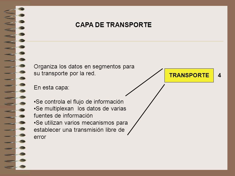 Organiza los datos en segmentos para su transporte por la red. En esta capa: Se controla el flujo de información Se multiplexan los datos de varias fu