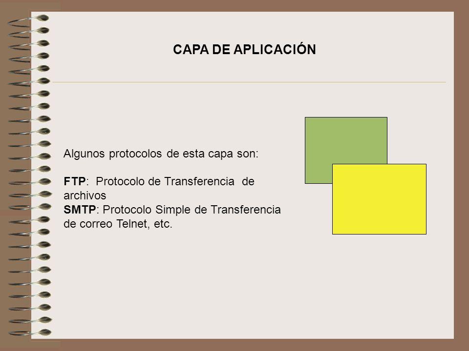 Algunos protocolos de esta capa son: FTP: Protocolo de Transferencia de archivos SMTP: Protocolo Simple de Transferencia de correo Telnet, etc. CAPA D