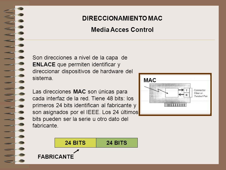 Son direcciones a nivel de la capa de ENLACE que permiten identificar y direccionar dispositivos de hardware del sistema. Las direcciones MAC son únic