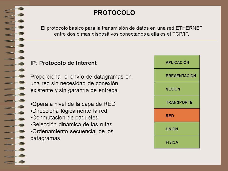El protocolo básico para la transmisión de datos en una red ETHERNET entre dos o mas dispositivos conectados a ella es el TCP/IP. IP: Protocolo de Int