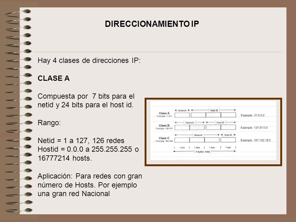 Hay 4 clases de direcciones IP: CLASE A Compuesta por 7 bits para el netid y 24 bits para el host id. Rango: Netid = 1 a 127, 126 redes Hostid = 0.0.0