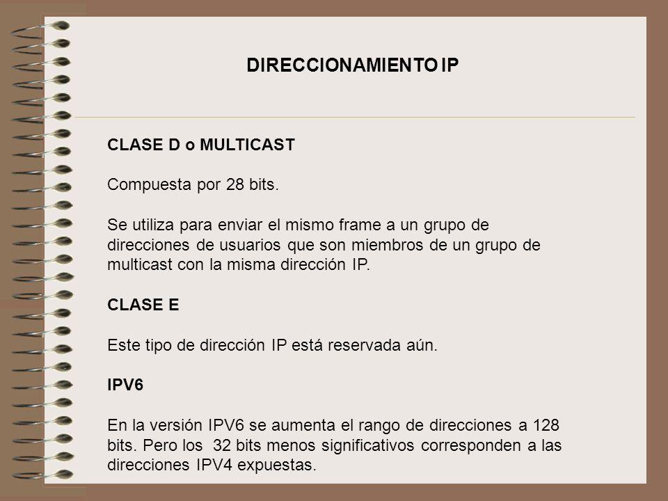 CLASE D o MULTICAST Compuesta por 28 bits. Se utiliza para enviar el mismo frame a un grupo de direcciones de usuarios que son miembros de un grupo de