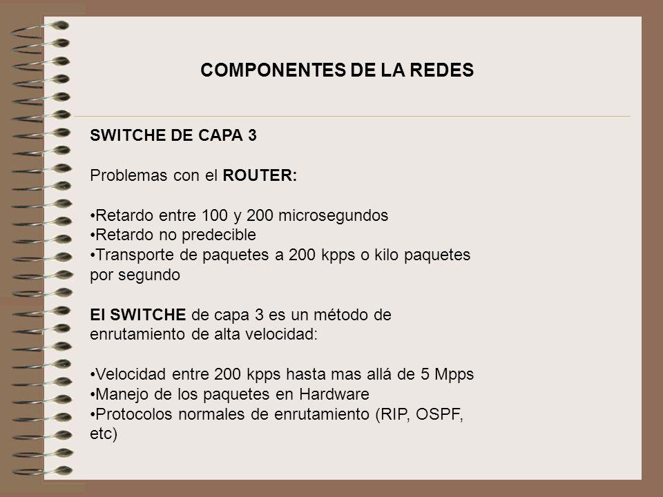 COMPONENTES DE LA REDES SWITCHE DE CAPA 3 Problemas con el ROUTER: Retardo entre 100 y 200 microsegundos Retardo no predecible Transporte de paquetes