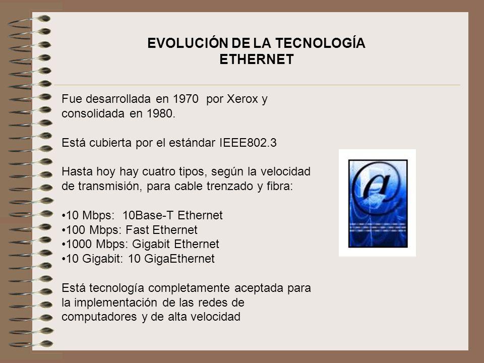 EVOLUCIÓN DE LA TECNOLOGÍA ETHERNET Fue desarrollada en 1970 por Xerox y consolidada en 1980. Está cubierta por el estándar IEEE802.3 Hasta hoy hay cu