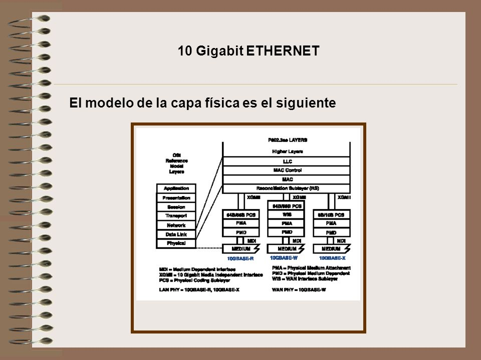10 Gigabit ETHERNET El modelo de la capa física es el siguiente