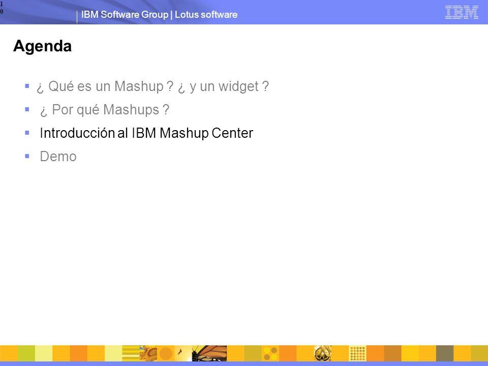 IBM Software Group | Lotus software10 Agenda ¿ Qué es un Mashup .