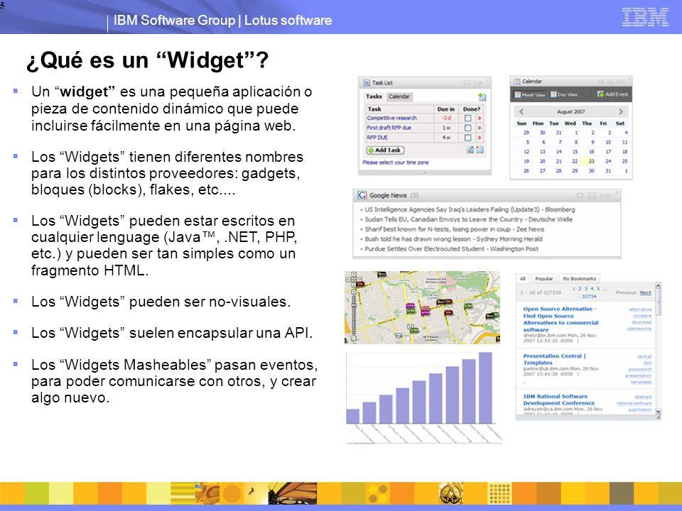 IBM Software Group | Lotus software 5 Un widget es una pequeña aplicación o pieza de contenido dinámico que puede incluirse fácilmente en una página web.