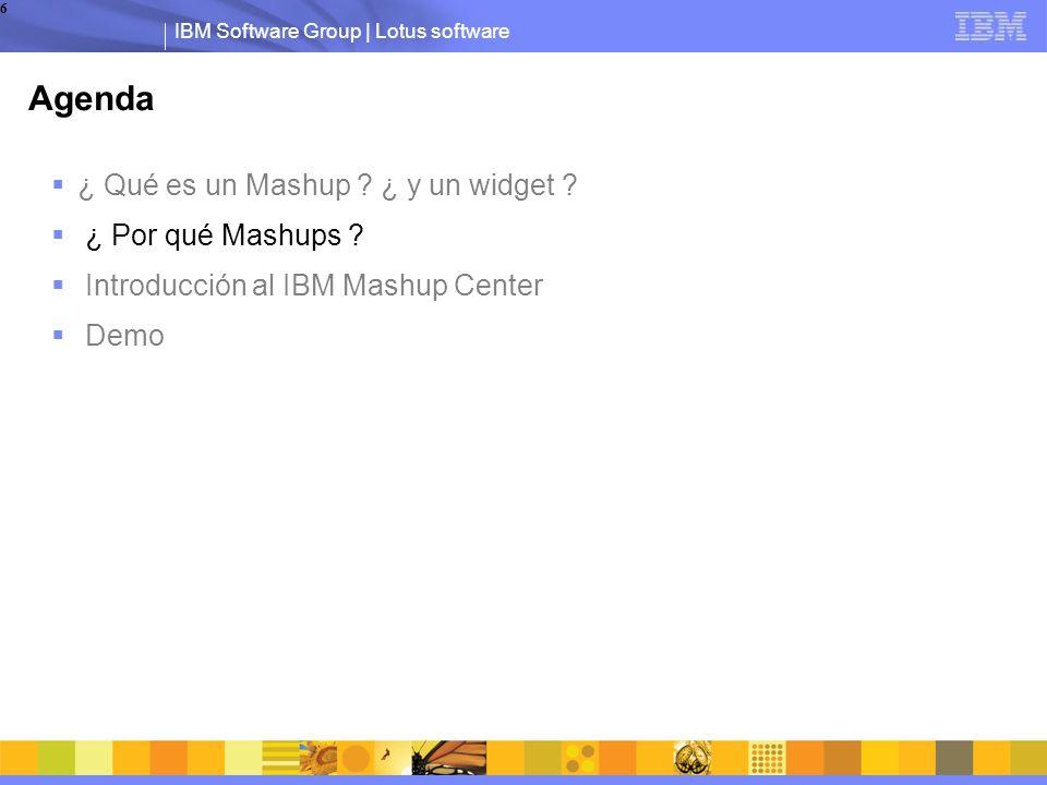 IBM Software Group | Lotus software 6 Agenda ¿ Qué es un Mashup .