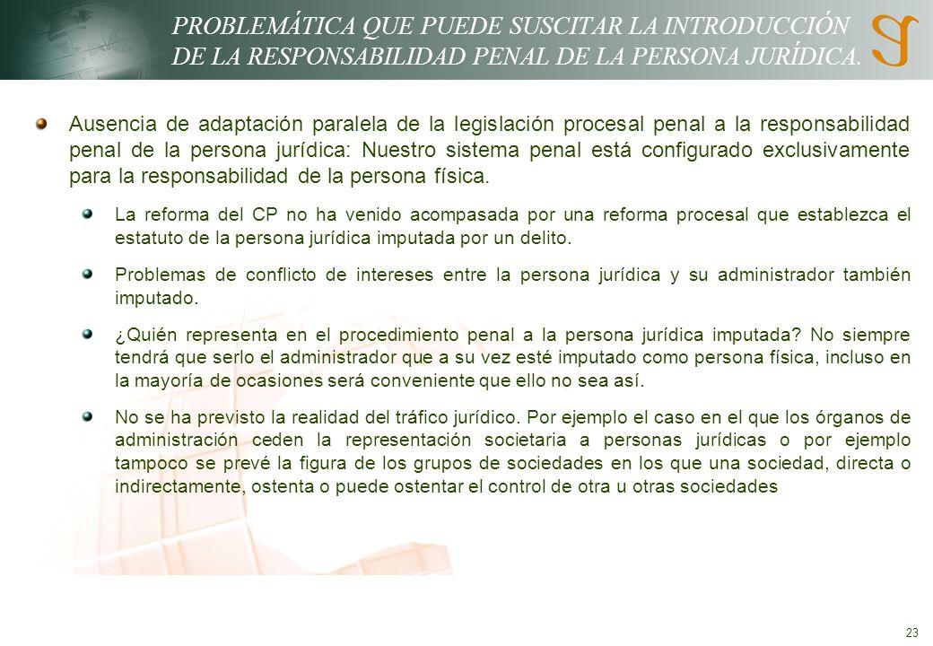 23 PROBLEMÁTICA QUE PUEDE SUSCITAR LA INTRODUCCIÓN DE LA RESPONSABILIDAD PENAL DE LA PERSONA JURÍDICA.