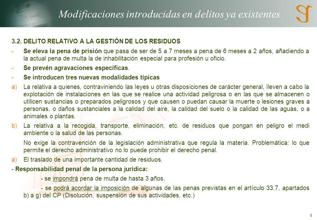 9 Modificaciones introducidas en delitos ya existentes 3.2.