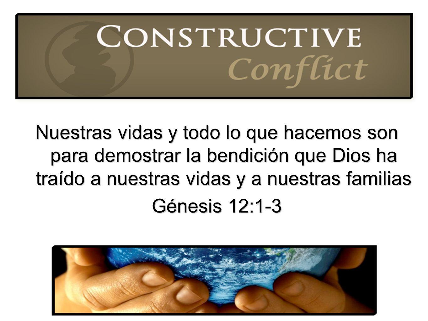 Nuestras vidas y todo lo que hacemos son para demostrar la bendición que Dios ha traído a nuestras vidas y a nuestras familias Génesis 12:1-3