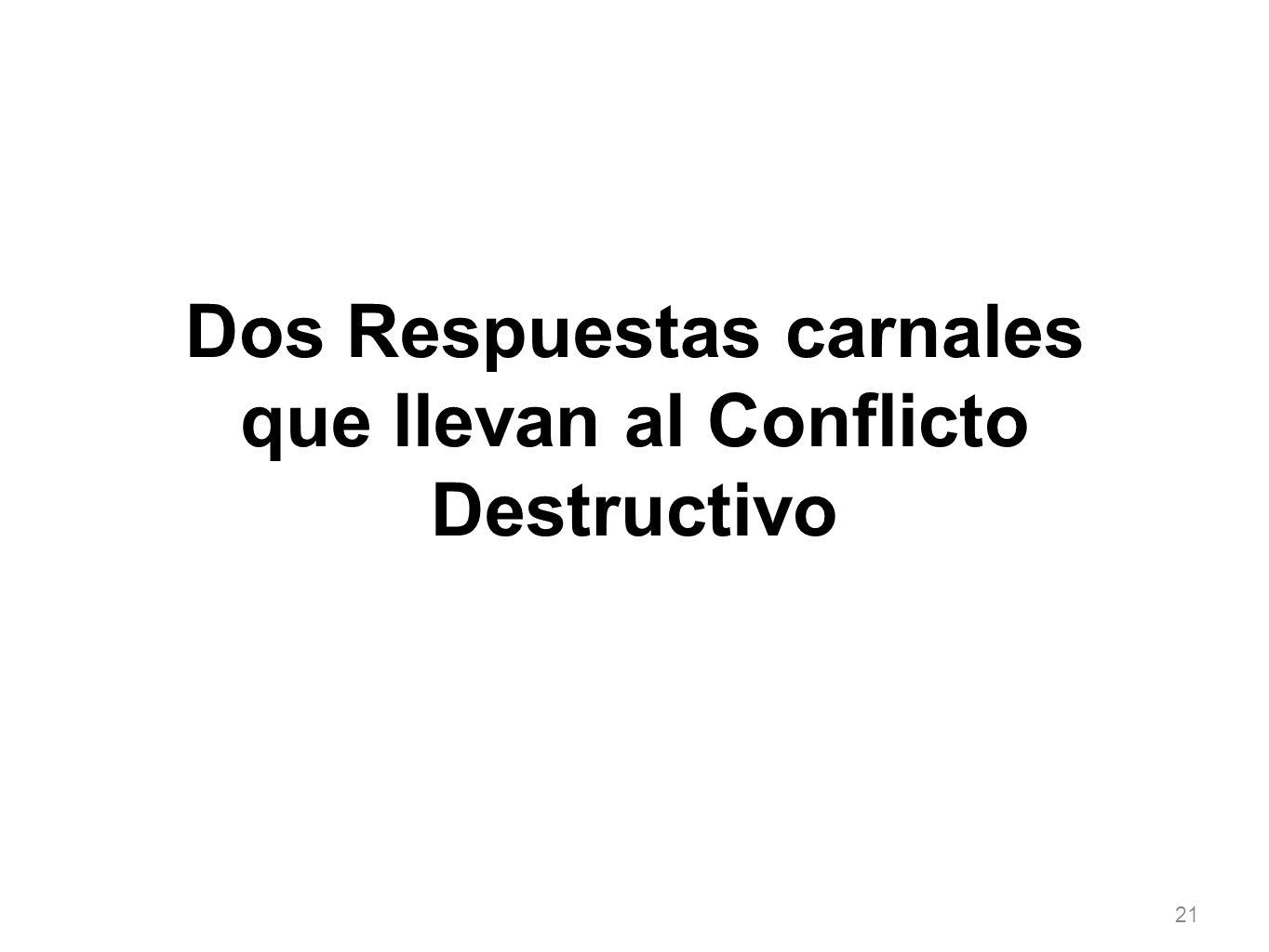 21 Dos Respuestas carnales que llevan al Conflicto Destructivo
