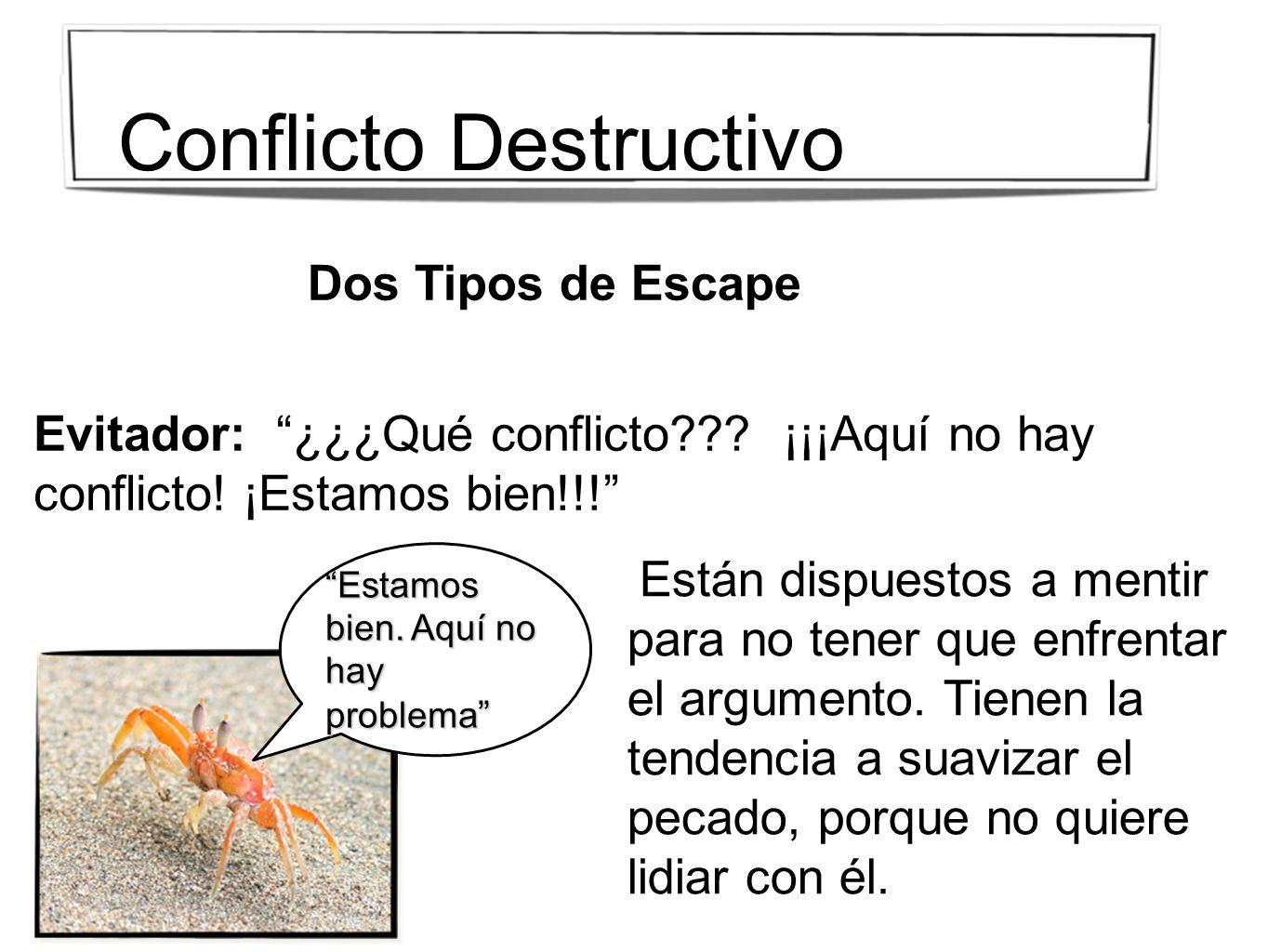 Dos Tipos de Escape Evitador: ¿¿¿Qué conflicto??? ¡¡¡Aquí no hay conflicto! ¡Estamos bien!!! Están dispuestos a mentir para no tener que enfrentar el