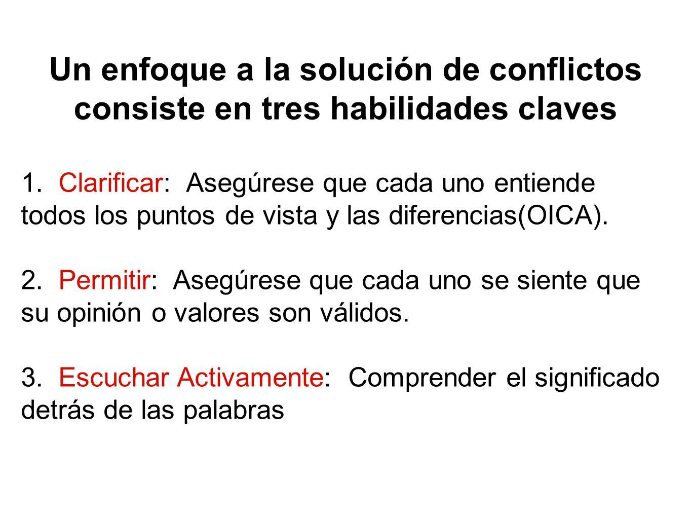 Un enfoque a la solución de conflictos consiste en tres habilidades claves 1. Clarificar: Asegúrese que cada uno entiende todos los puntos de vista y