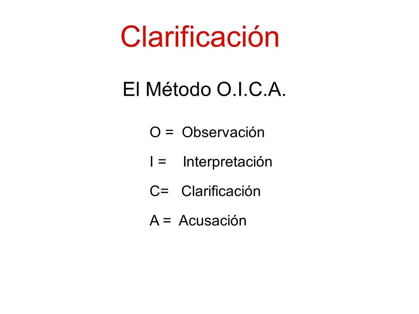 Clarificación O = Observación I = Interpretación A = Acusación El Método O.I.C.A. C= Clarificación