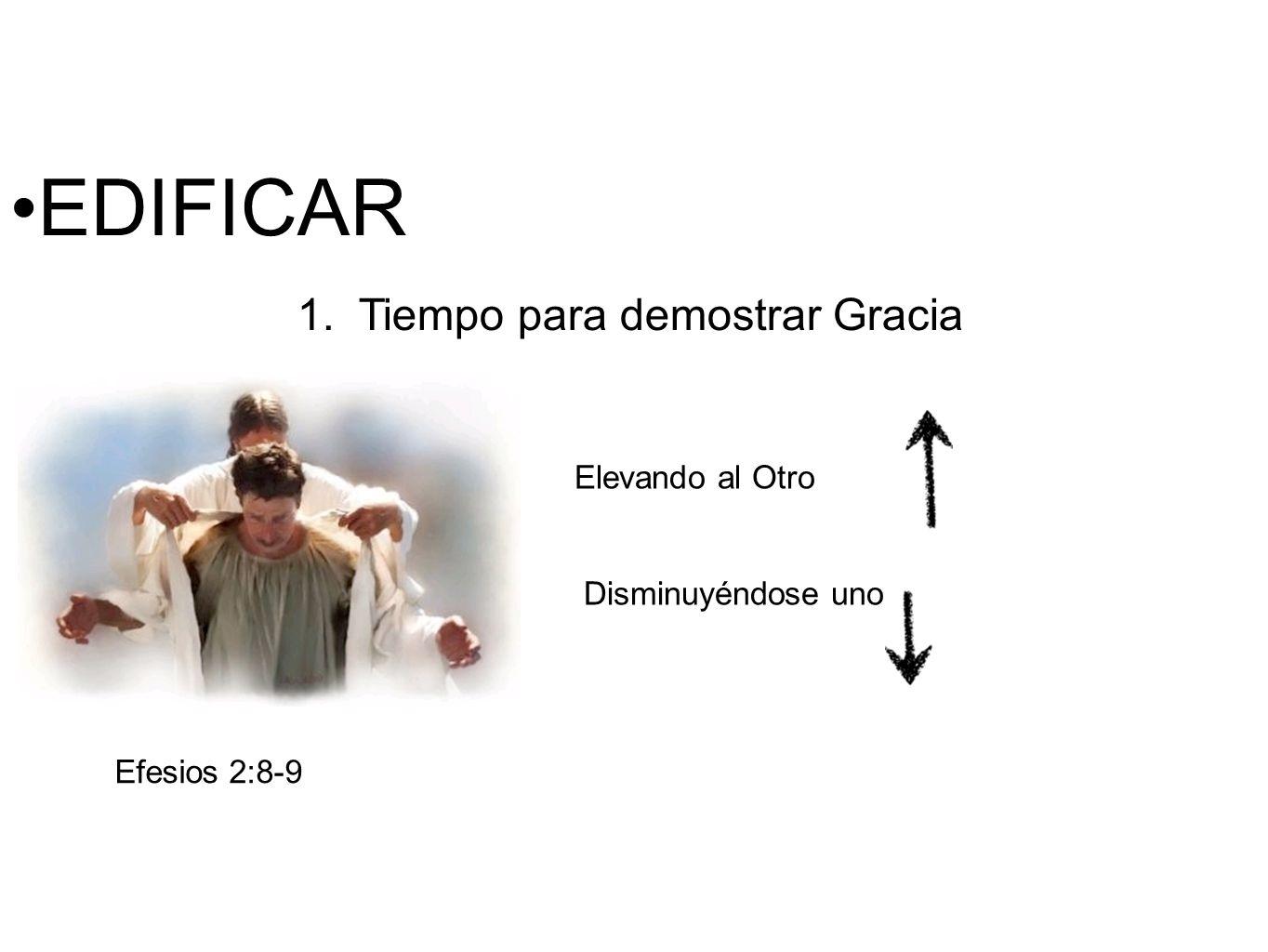 EDIFICAR 1. Tiempo para demostrar Gracia Efesios 2:8-9 Elevando al Otro Disminuyéndose uno