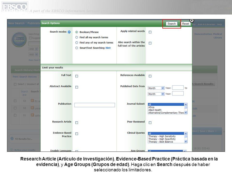 Research Article (Artículo de Investigación), Evidence-Based Practice (Práctica basada en la evidencia), y Age Groups (Grupos de edad).