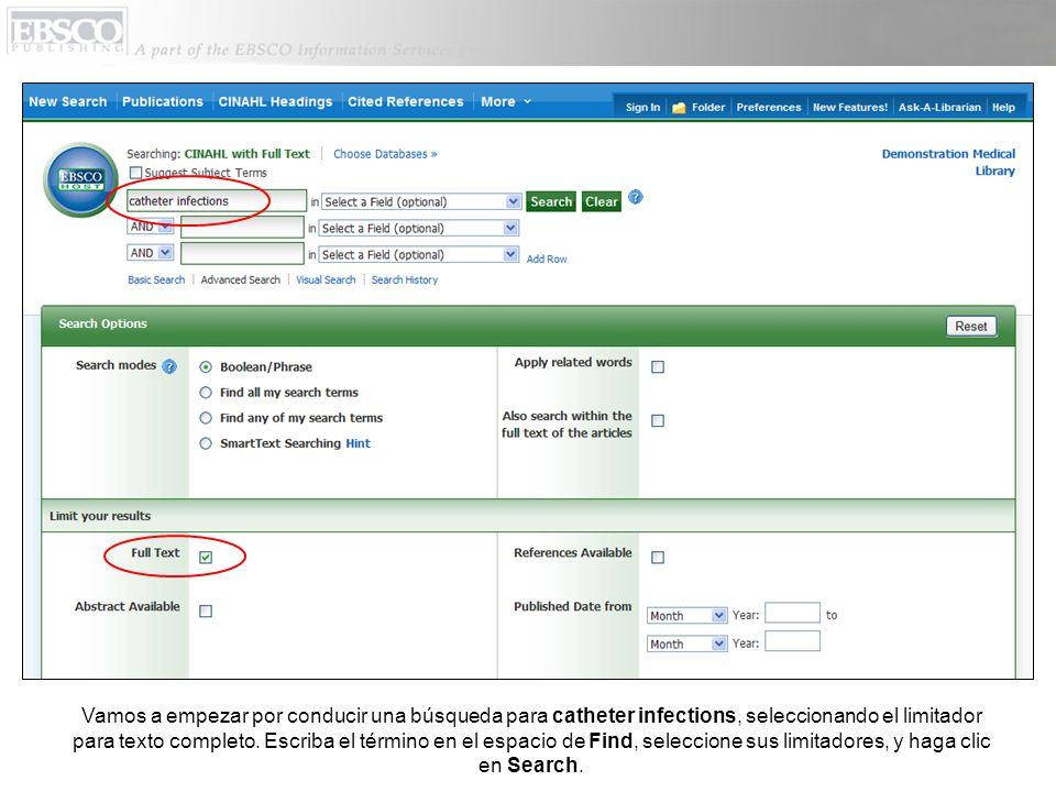 Vamos a empezar por conducir una búsqueda para catheter infections, seleccionando el limitador para texto completo.
