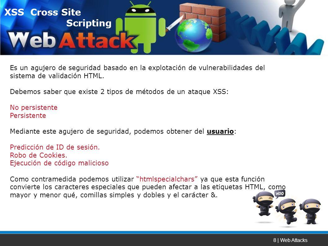 8 | Web Attacks Es un agujero de seguridad basado en la explotación de vulnerabilidades del sistema de validación HTML.