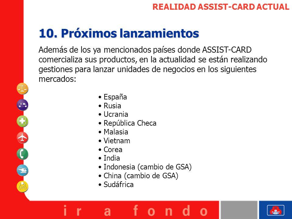REALIDAD ASSIST-CARD ACTUAL 10. Próximos lanzamientos Además de los ya mencionados países donde ASSIST-CARD comercializa sus productos, en la actualid