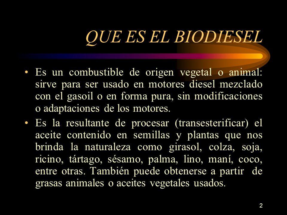 2 QUE ES EL BIODIESEL Es un combustible de origen vegetal o animal: sirve para ser usado en motores diesel mezclado con el gasoil o en forma pura, sin