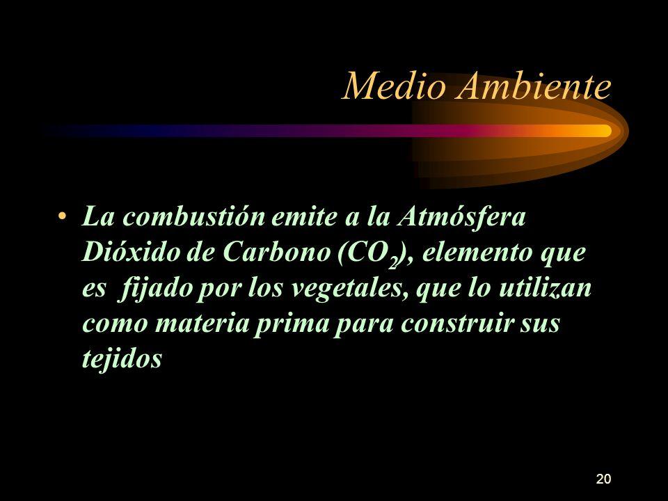 20 Medio Ambiente La combustión emite a la Atmósfera Dióxido de Carbono (CO 2 ), elemento que es fijado por los vegetales, que lo utilizan como materi