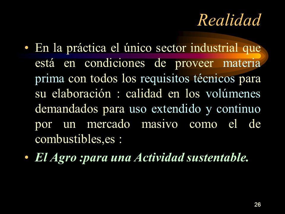 26 Realidad En la práctica el único sector industrial que está en condiciones de proveer materia prima con todos los requisitos técnicos para su elabo