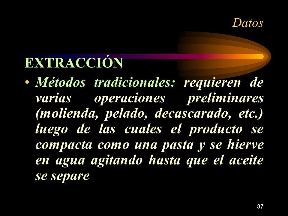37 Datos EXTRACCIÓN Métodos tradicionales: requieren de varias operaciones preliminares (molienda, pelado, decascarado, etc.) luego de las cuales el p
