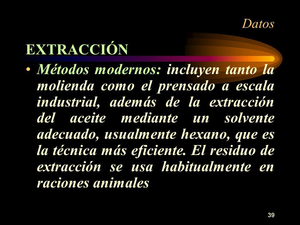 39 Datos EXTRACCIÓN Métodos modernos: incluyen tanto la molienda como el prensado a escala industrial, además de la extracción del aceite mediante un
