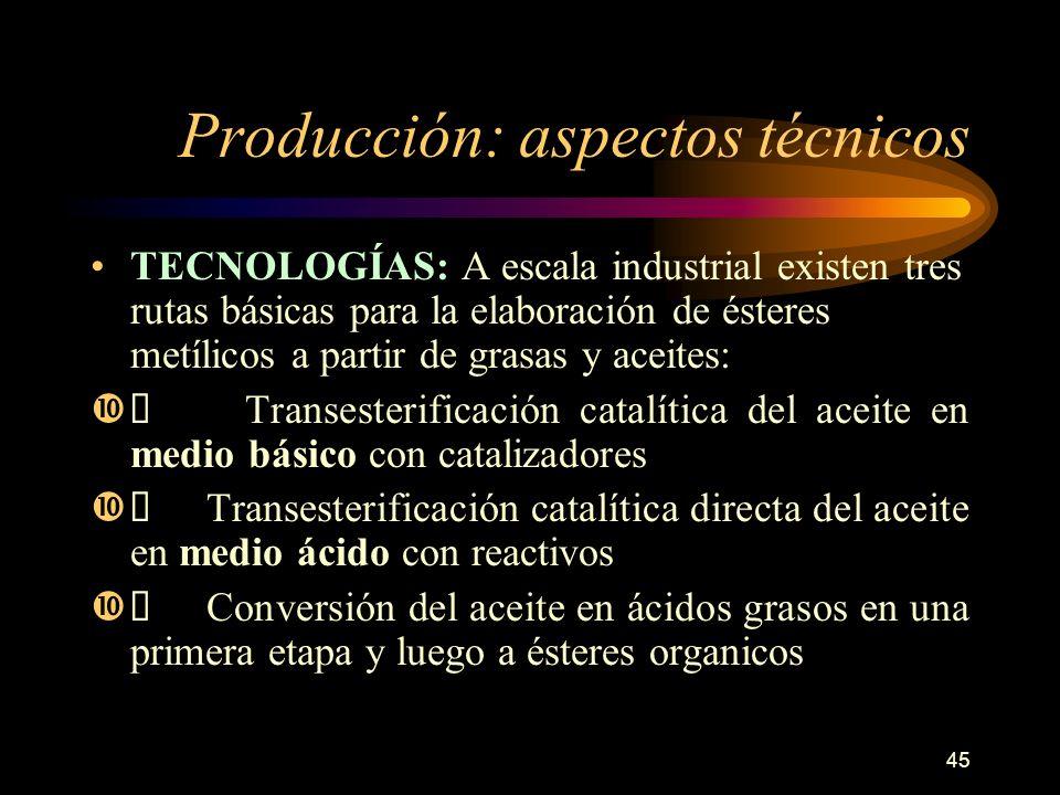 45 Producción: aspectos técnicos TECNOLOGÍAS: A escala industrial existen tres rutas básicas para la elaboración de ésteres metílicos a partir de gras