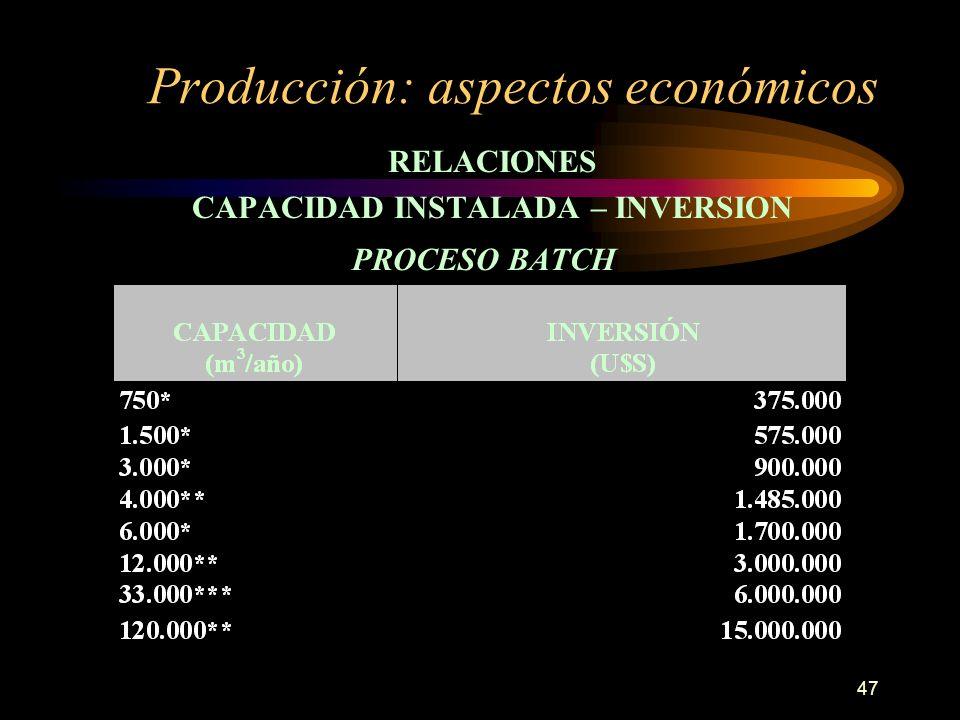 47 Producción: aspectos económicos RELACIONES CAPACIDAD INSTALADA – INVERSION PROCESO BATCH