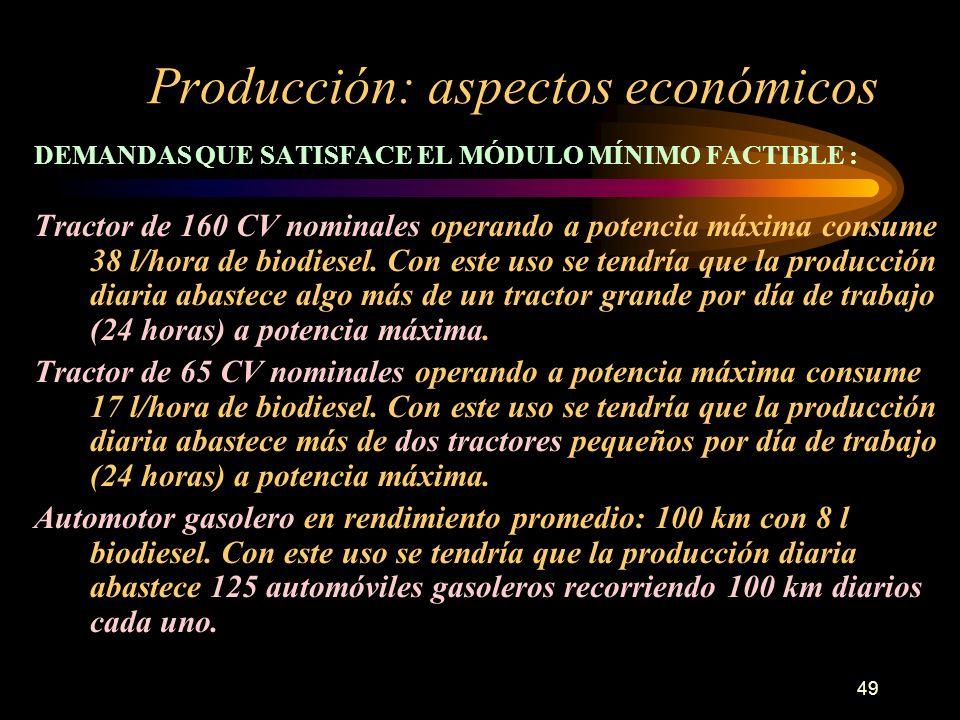 49 Producción: aspectos económicos DEMANDAS QUE SATISFACE EL MÓDULO MÍNIMO FACTIBLE : Tractor de 160 CV nominales operando a potencia máxima consume 3
