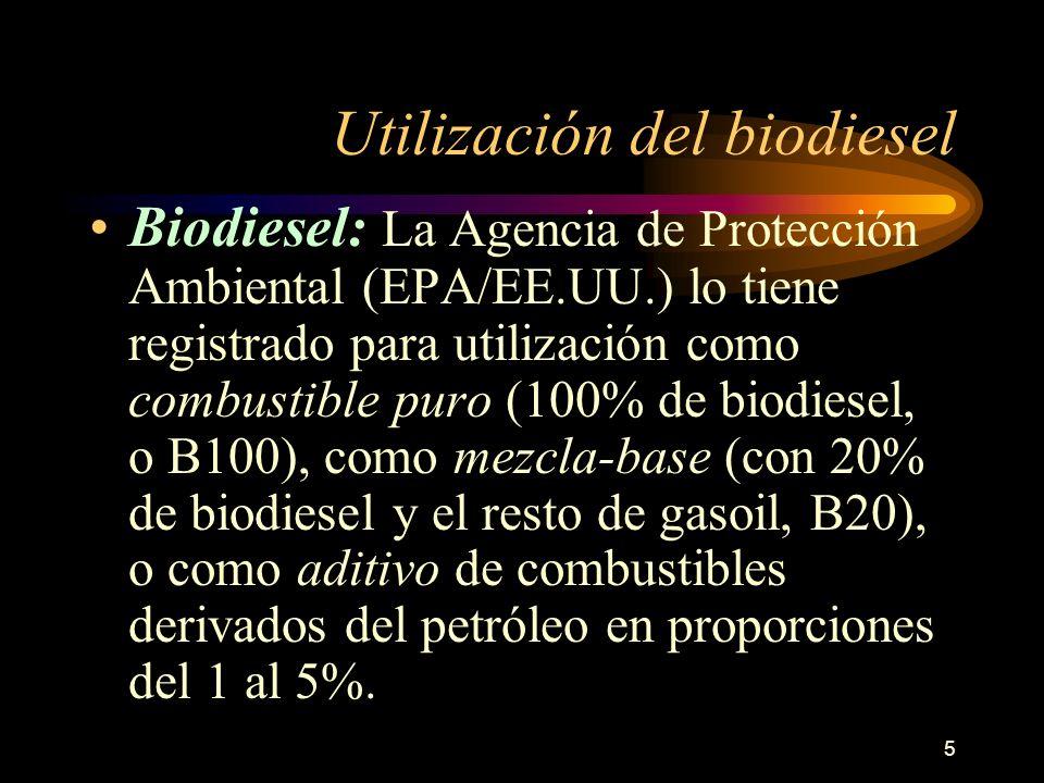 5 Utilización del biodiesel Biodiesel: La Agencia de Protección Ambiental (EPA/EE.UU.) lo tiene registrado para utilización como combustible puro (100