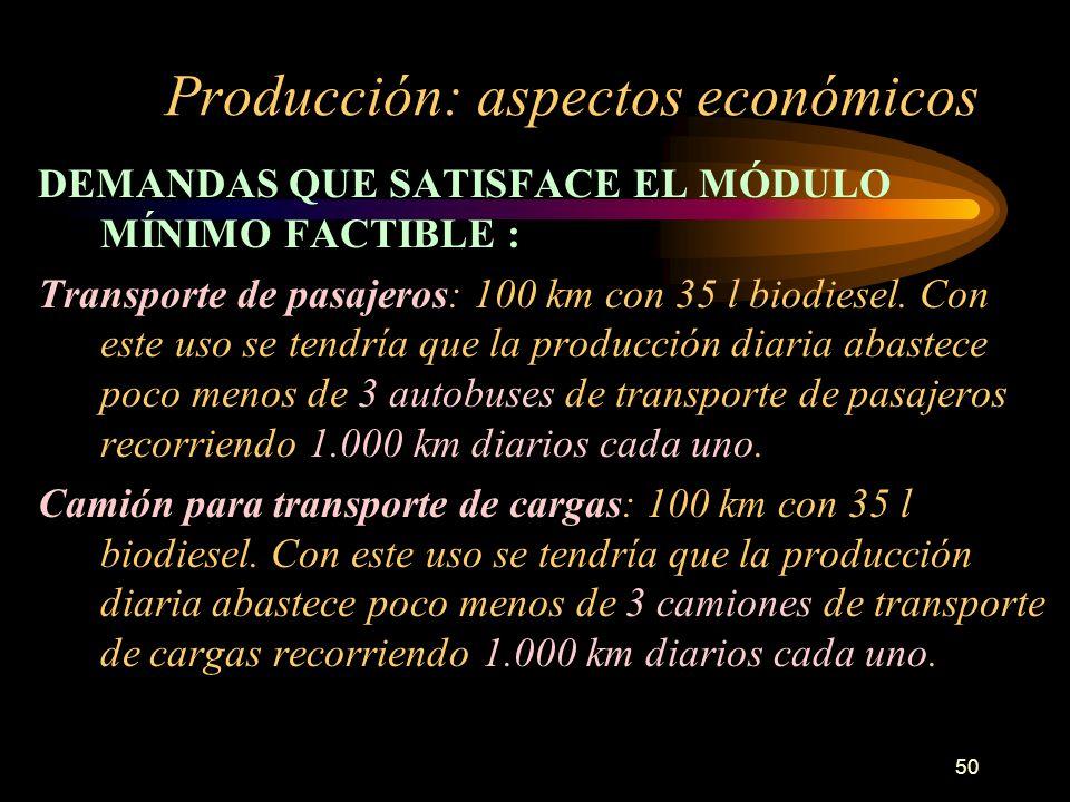 50 Producción: aspectos económicos DEMANDAS QUE SATISFACE EL MÓDULO MÍNIMO FACTIBLE : Transporte de pasajeros: 100 km con 35 l biodiesel. Con este uso