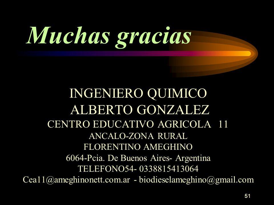 51 Muchas gracias INGENIERO QUIMICO ALBERTO GONZALEZ CENTRO EDUCATIVO AGRICOLA 11 ANCALO-ZONA RURAL FLORENTINO AMEGHINO 6064-Pcia. De Buenos Aires- Ar