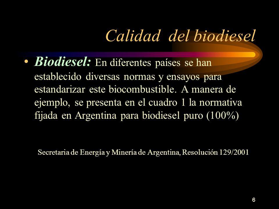 6 Calidad del biodiesel Biodiesel: En diferentes países se han establecido diversas normas y ensayos para estandarizar este biocombustible. A manera d