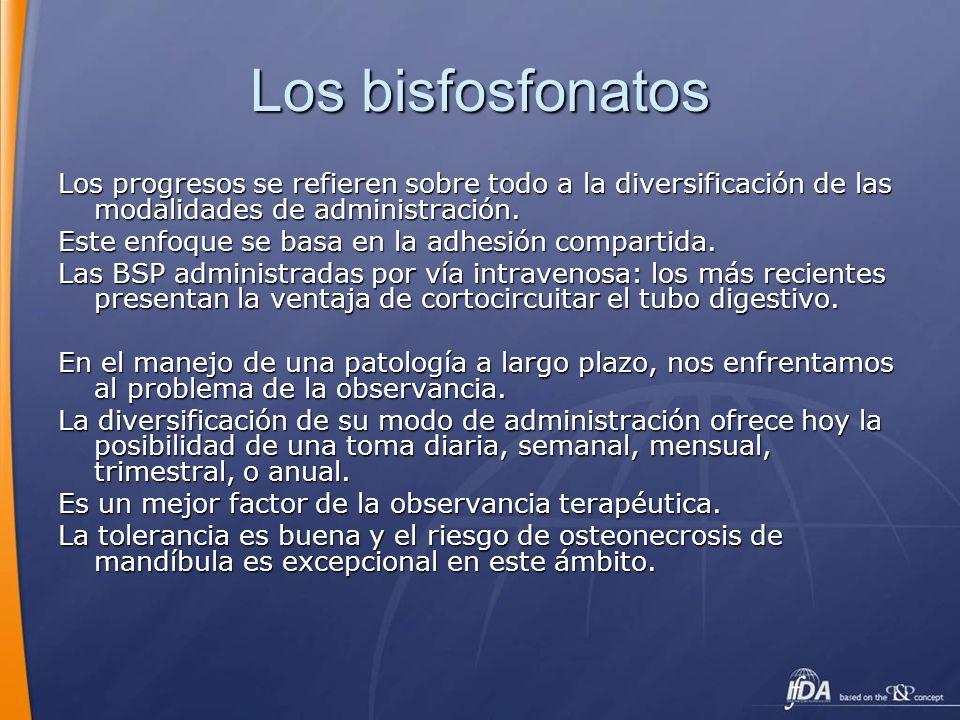 Los bisfosfonatos Los progresos se refieren sobre todo a la diversificación de las modalidades de administración. Este enfoque se basa en la adhesión