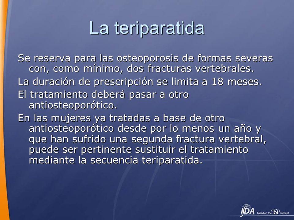 La teriparatida Se reserva para las osteoporosis de formas severas con, como mínimo, dos fracturas vertebrales. La duración de prescripción se limita