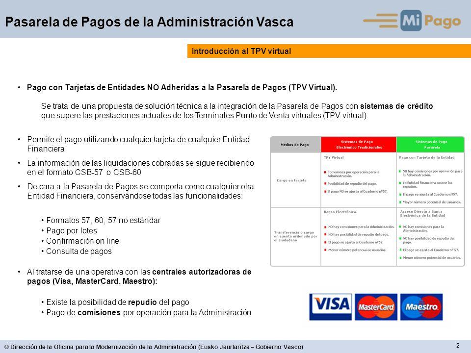 2 © Dirección de la Oficina para la Modernización de la Administración (Eusko Jaurlaritza – Gobierno Vasco) Pasarela de Pagos de la Administración Vas