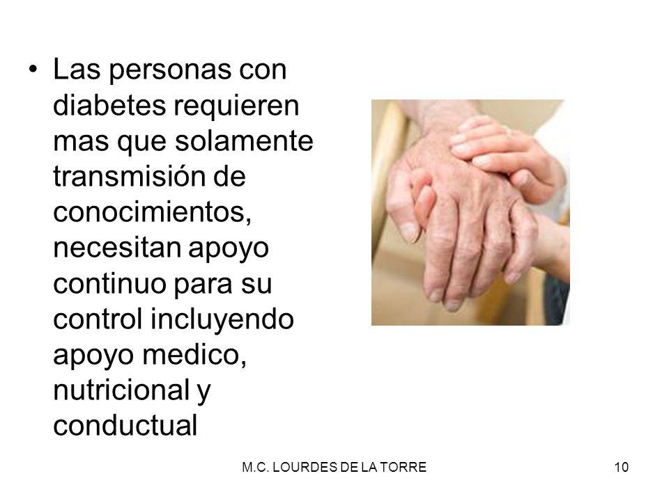 Las personas con diabetes requieren mas que solamente transmisión de conocimientos, necesitan apoyo continuo para su control incluyendo apoyo medico,