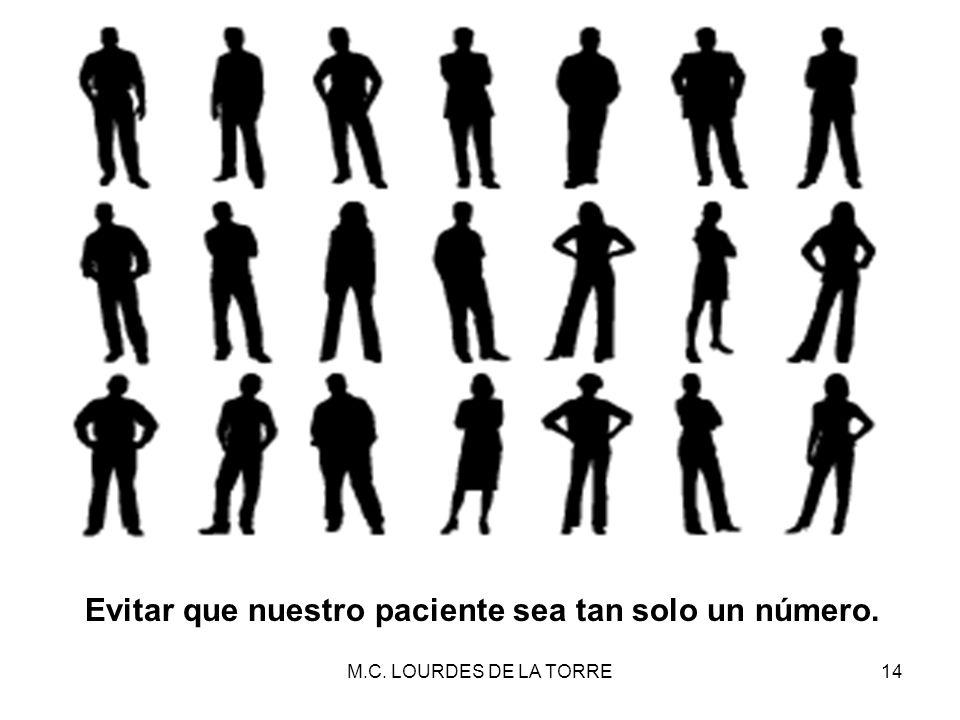 M.C. LOURDES DE LA TORRE14 Evitar que nuestro paciente sea tan solo un número.