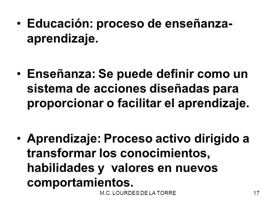 M.C. LOURDES DE LA TORRE17 Educación: proceso de enseñanza- aprendizaje. Enseñanza: Se puede definir como un sistema de acciones diseñadas para propor