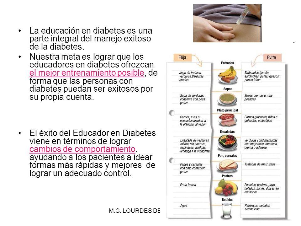 M.C. LOURDES DE LA TORRE20 La educación en diabetes es una parte integral del manejo exitoso de la diabetes. Nuestra meta es lograr que los educadores