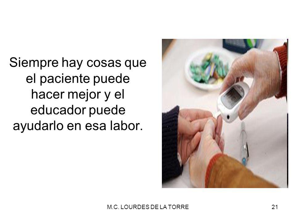M.C. LOURDES DE LA TORRE21 Siempre hay cosas que el paciente puede hacer mejor y el educador puede ayudarlo en esa labor.