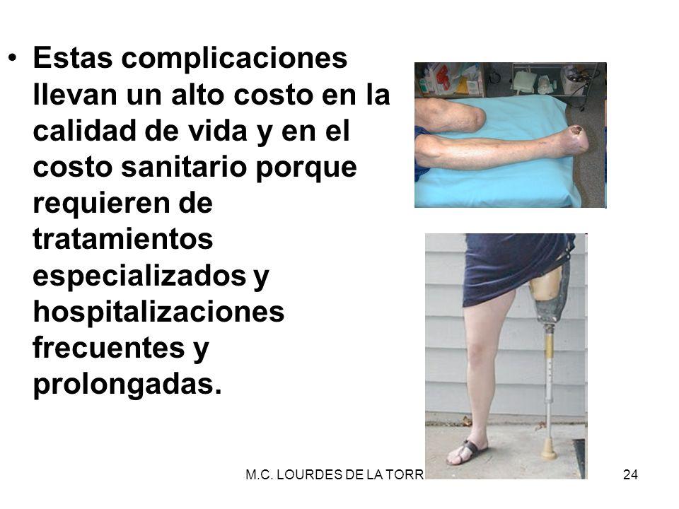 M.C. LOURDES DE LA TORRE24 Estas complicaciones llevan un alto costo en la calidad de vida y en el costo sanitario porque requieren de tratamientos es