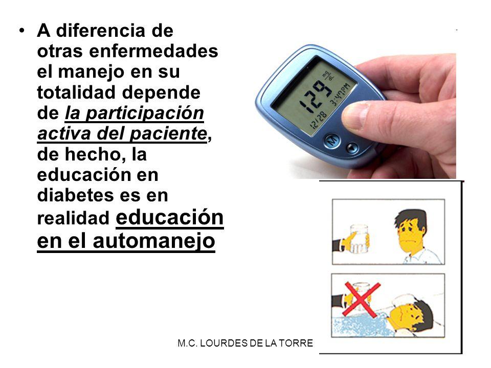 M.C. LOURDES DE LA TORRE26 A diferencia de otras enfermedades el manejo en su totalidad depende de la participación activa del paciente, de hecho, la