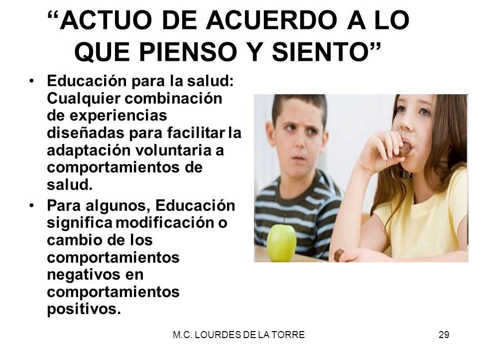 M.C. LOURDES DE LA TORRE29 ACTUO DE ACUERDO A LO QUE PIENSO Y SIENTO Educación para la salud: Cualquier combinación de experiencias diseñadas para fac