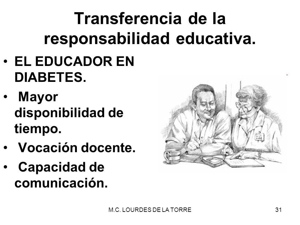 M.C. LOURDES DE LA TORRE31 Transferencia de la responsabilidad educativa. EL EDUCADOR EN DIABETES. Mayor disponibilidad de tiempo. Vocación docente. C
