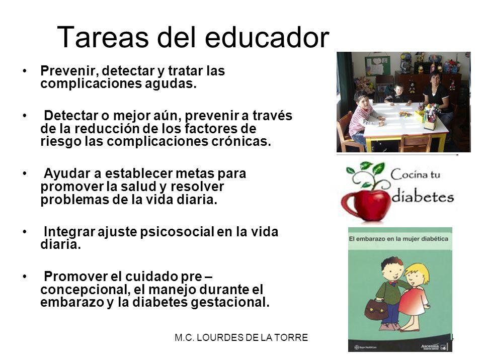 M.C. LOURDES DE LA TORRE34 Prevenir, detectar y tratar las complicaciones agudas. Detectar o mejor aún, prevenir a través de la reducción de los facto