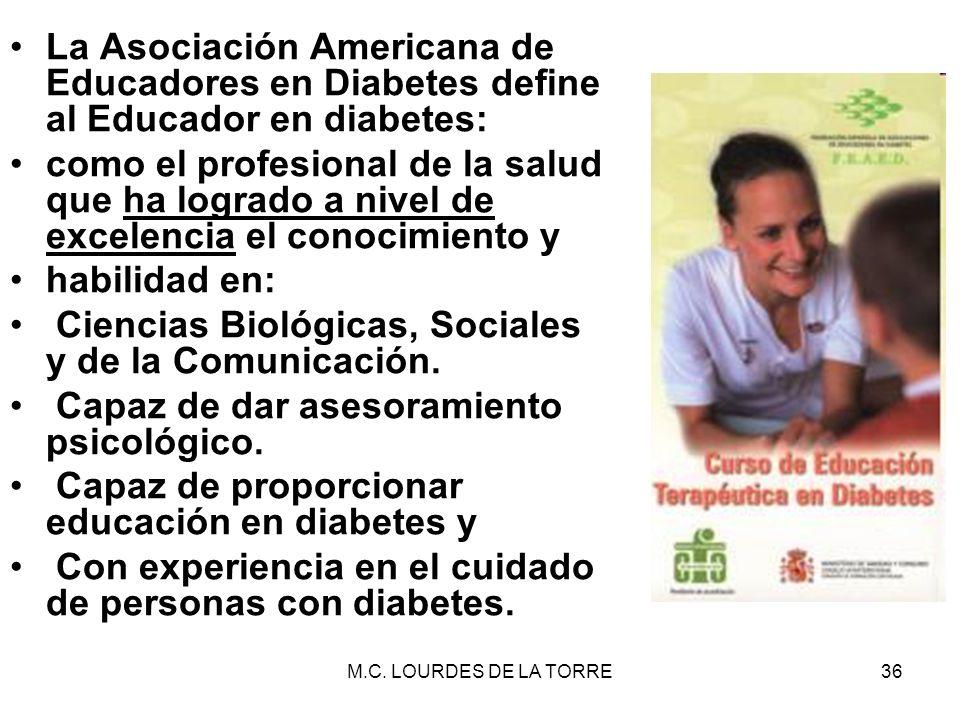 M.C. LOURDES DE LA TORRE36 La Asociación Americana de Educadores en Diabetes define al Educador en diabetes: como el profesional de la salud que ha lo